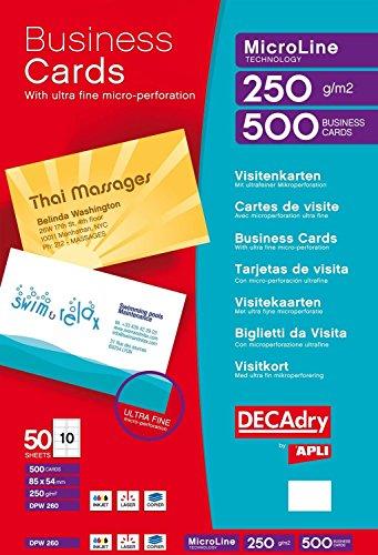 Pack de 50hojas de 10en blanco tarjetas de visita blanco 250G/m²