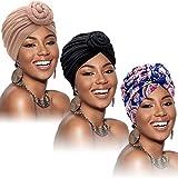SATINIOR 3 Pieces African Turban for Women Knot Pre-Tied Bonnet Beanie Cap Headwrap (Black, Blue Flower, Khaki)