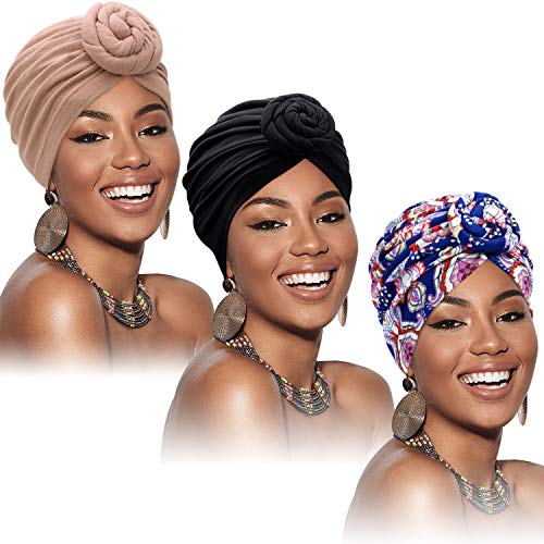 SATINIOR 3 Stücke Afrikanischen Turban für Damen Knoten Pre-Gebunden Motorhaube Hut Kopfbedeckung (Schwarze, Blaue Blume, Khaki)