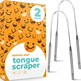 Tongue Scraper (2-Pack), Stainless Steel Tongue Scrapers for Adults to Reduce Bad Breath (Medical Grade), 100% BPA Free Metal Tongue Scraper Cleaner, A Gift of Fresh Breath for You and Your Loved Ones