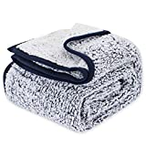 EMME Sherpa Blanket Queen Ultra Soft Warm Bed Blanket Microfiber Cozy Blanket for Bed Sofa Lightweight Fuzzy Thick Reversible Couch Blanket (Navy, 60'x80')