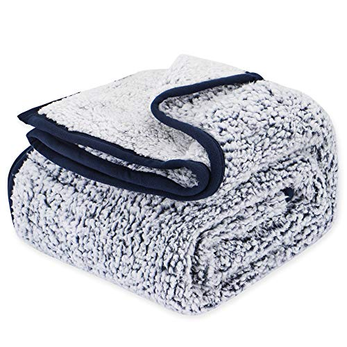 EMME Plush Sherpa Blanket Ultra Soft Warm Microfiber Cozy Blanket for Bed Sofa Lightweight Fuzzy Thick Reversible Couch Blanket (Navy, 60'x80')