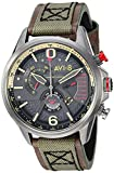 AVI-8 Men's 'Hawker Harrier II' Quartz Stainless Steel and Leather Aviator Watch, Color:Green (Model: AV-4056-03)