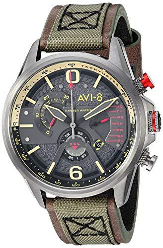 AVI-8 Men's 'Hawker Harrier II' Quartz Stainless Steel and Leather Aviator Watch, Color:Green (Model: AV-4056-03)