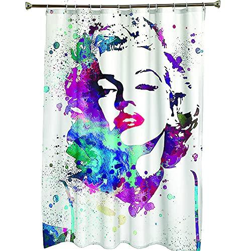 Duschvorhang wasserdichtes Polyester schimmelresistent verdickter Polyester-Duschvorhang,3D-Digitaldruck für ,Farbige Marilyn Monroe,Duschvorhang im Bad180x200cm