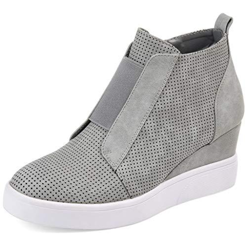 VANDIMI Women's Platform Wedge Sneakers Ankle Booties Grey Size 9