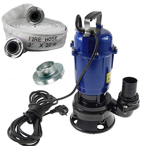 Fäkalienpumpe Tauchpumpe Schmutzwasserpumpe 0,55kW 300l/min mit 20m C-Schlauch ohne Schwimmer