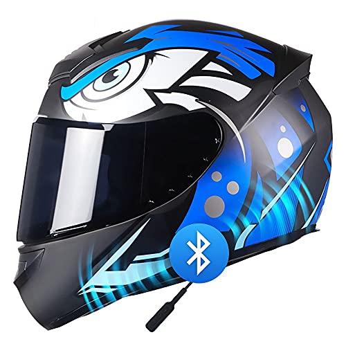 Casco Bluetooth Motocicleta para Adultos Casco ABS de Completa para Hombre Visera Dot/ECE Off Road Downhill Quad Bike Racing Dirt Bike Crash MTB Casco de Motocicleta (55~64CM)