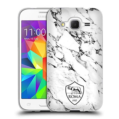 Head Case Designs Ufficiale AS Roma Bianco Marmo Cresta Cover in Morbido Gel Compatibile con Samsung Galaxy Core Prime