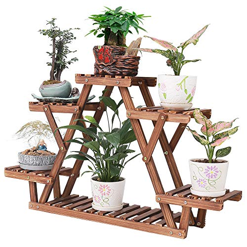 Wood Plant Stand Indoor 6 Tier Flower Pot Holder Shelf Corner Plant Display Shelving Rack Organizer Shelves for Balcony Garden Patio Living Room (Triangular,A Frame,Cute,Small,Upgrade)