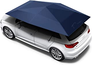 Car Cover, Automatic Folded Umbrella Shelter 4.5 x 2.3 Meters with Remote Control, Portable Auto Protection Car Hood, Tradoo CarShade - Dark Blue