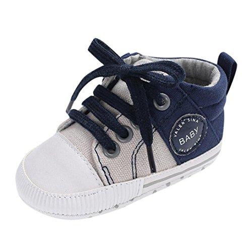Longra Bébé Garçons Filles Toile Dentelle Chaussures Pré-Marcheur Doux Chaussures antidérapantes Petites Filles bébé Chaussures Doux Unique Antidérapant Baskets Chaussures Mode(Bleu,EU10)