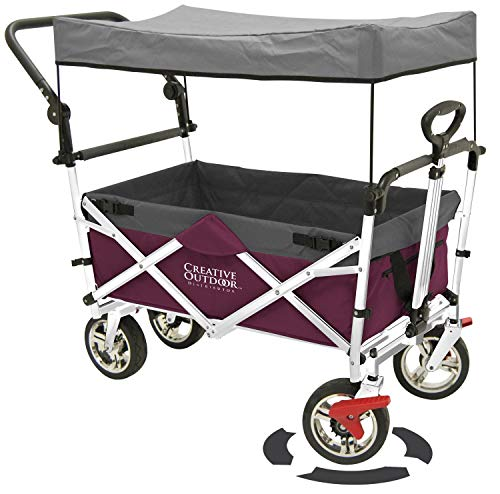 Creative Outddor Distributor Push Pull Folding Wagon for Kids, Beach, Foldable Canopy with Sun/Rain Shade (Magenta)