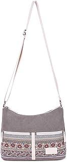 Keahup Keahup Umhängetasche, Blumen-Design, Segeltuch, Reisetasche, Messenger Bag für Frauen grau