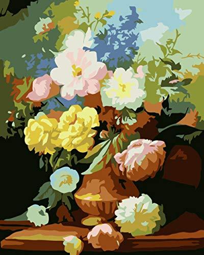 Pintura por números Girasol DIY Óleo para Colorear Imágenes por números Lienzo Pintura Pintura Sala de Estar Arte Regalo, B_Frameless