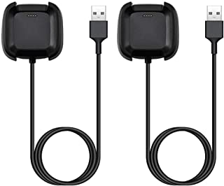 EXMRAT Compatible with Fit bit Versa Charger Cable, Replacement USB Charger Charging Cable for Fit-bit Versa (Black, 2-Pack)