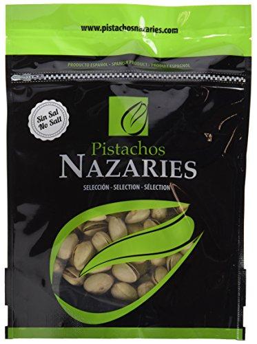 Pistachos Nazaríes - Pistachos Españoles de gran calidad, cuidadosamente seleccionados y tostados SIN SAL. Muy crujientes. (Pack de 4 bolsas de 250gr cada una).