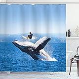 ABAKUHAUS Tier Duschvorhang, Jumphing Delphin Surfer, mit 12 Ringe Set Wasserdicht Stielvoll Modern Farbfest & Schimmel Resistent, 175x180 cm, Weiß Blau