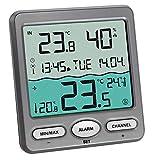 TFA Dostmann Piscina Termometro 30.3056.10 Venice, per il monitoraggio della temperatura dell'acqua nella piscina, laghetto e la vasca idromassaggio (grigio con batterie)