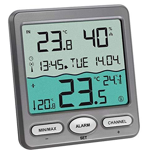 TFA Dostmann Poolthermometer Venice 30.3056.10, zur Überwachung der Wassertemperatur in Pool, Teich oder Whirlpool (grau mit Batterien)