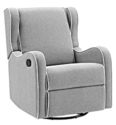 powerful Angel line Rebecca upholstered swivel rocking chair, gray linen with white piping