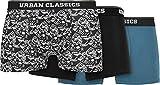 Urban Classics Organic Boxer Shorts 3-Pack Ropa Interior, Detalles AOP/Black/Jasper, S para Hombre