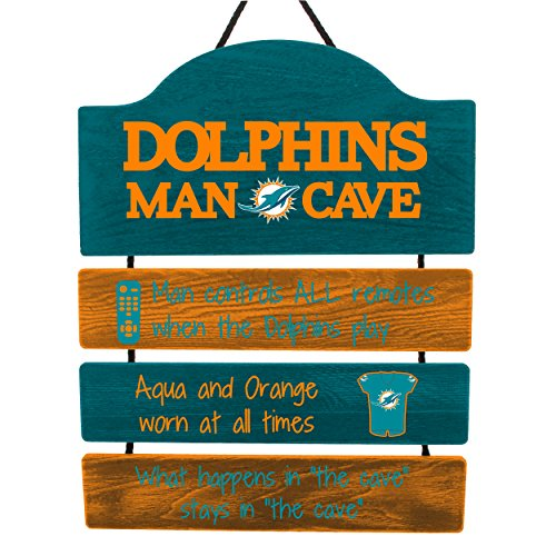 Miami Dolphins NFL Mancave Team Logo Man Cave Hanging Wall Sign