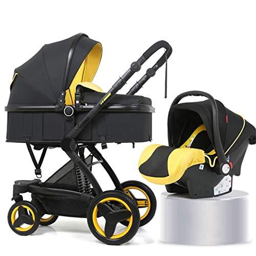 QJY 2 en 1 Poussette Portable Anti-Shock ressorts pliable luxe bébé poussette réglable High View Pram Poussettes for Babys rapide Fold landau (Color : Yellow)