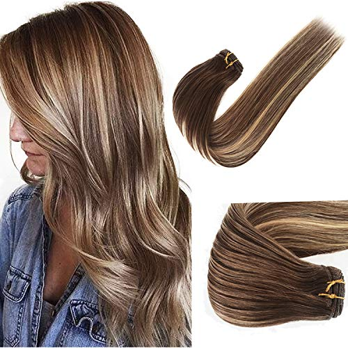 Honey Blonde Highlights Sew in Human Hair Extensions for White Women Ombre Balayage Natural Hair Extensions Double Weft Seamless Sew in Real Remy Hair Weft Thicken Full Head Straight 120G 22 Inch