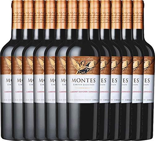 VINELLO 12er Weinpaket Rotwein - Limited Selection Cabernet Sauvignon Carmenère 2019 - Montes mit Weinausgießer | trockener Rotwein | chilenischer Wein aus Valle Central | 12 x 0,75 Liter