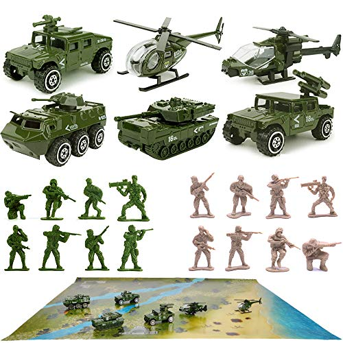 23 Pack Die-cast Military Vehicles Sets,6 Pack Assorted Alloy Metal Army Models Car Toys,16 Pack Soldier Army Men,1 Playmat,Mini Army Toy Tank,Panzer,Anti-Air Vehicle,Helicopter Playset for Kids Boys
