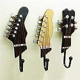 Ganchos Enganche retro 3 unids/set guitarra cabezas ganchos música casa resina ropa sombrero colgador pelicula gancho de pared para la decoración del hogar Ganchos para pared