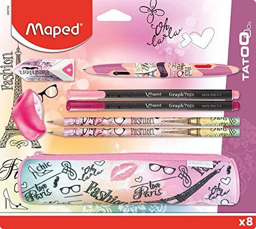 MAPED - Kit Fournitures Scolaires 8 Pièces - 1 Trousse Ronde, 2 Crayons à Papier, 1 Gomme, 1 Taille-crayon, 1 Stylo Twin Tip 4 Couleurs, 2 Stylos Fin - Motif Paris Fashion