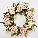 Floral Wreath Classic Flowers for Home Room Garden Lintel Decoration,Door Decorations Hanging for Christmas Party,13 Inch Pink Rose Wreath