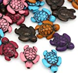 100 Pc Turtle Charm Spacer Beads, Acrylic Mixed Color, 18x15mm (~3/4) with 1.8mm Hole