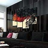 KOPASD De Fumar 4 Panel Lámina del Paisaje del Arte impresión en Lona Cuadros de la Pared de la Foto,para el hogar decoración Moderna impresión