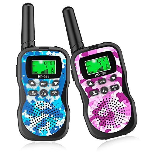 Kids Walkie Talkies, 22 Channels 2 Way Radio Toy with Flashlight and LCD Screen,3 Miles Range Walkie Talkies for Kids Family Outside Adventures, Hiking, Camping (2 Pack)
