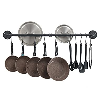Oropy Wall Mount 39'' Hanging Pot Bar Rack Steel Lid Holder Detachable Rail Kitchen Utensil Organizer with 14 S Hooks Black