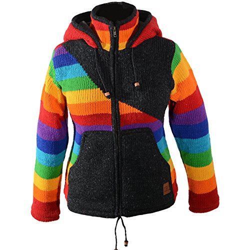 KUNST UND MAGIE Damen Goa Strickjacke Wolle mit Fleecefutter und Zipfelkapuze Schwarz/Regenbogen, Größe:42-44