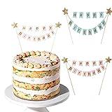 MIZOMOR Kuchengirlande Wimpelkette Tortendeko Geburtstag Cake Topper Happy Birthday Girlande mit Glänzend Sterne Kuchen Topper Girlande für Torten Cupcake Kindergeburtstag Party Pink Blau...