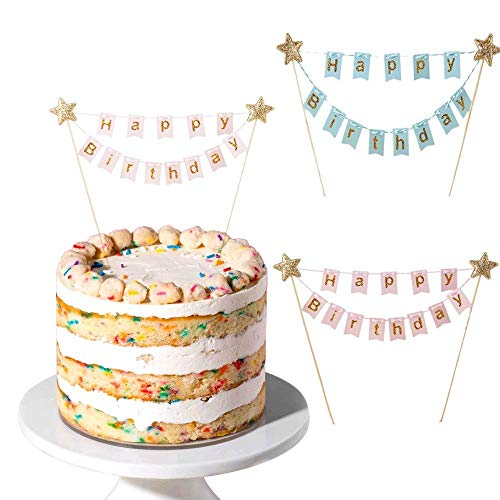 MIZOMOR Kuchengirlande Wimpelkette Tortendeko Geburtstag Cake Topper Happy Birthday Girlande mit Glänzend Sterne Kuchen Topper Girlande für Torten Cupcake Kindergeburtstag Party Pink Blau 2er/Set