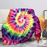 AFPANQZ Raindow Colored Cooling Blanket 51'x59' Cooled Throw Ultra Soft Lightweight Blanket for Adults Kids Baby Soft Flannel Blankets Office Sofa Bedding Tie-dye
