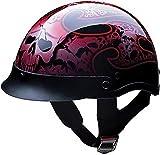 HCI Red Tribal Skull Pattern, ABS Shell Half Motorcycle Helmet 100-132 (2XL)