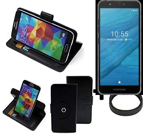 K-S-Trade® Case Schutz Hülle Für -Fairphone Fairphone 3- + Bumper Handyhülle Flipcase Smartphone Cover Handy Schutz Tasche Walletcase Schwarz (1x)