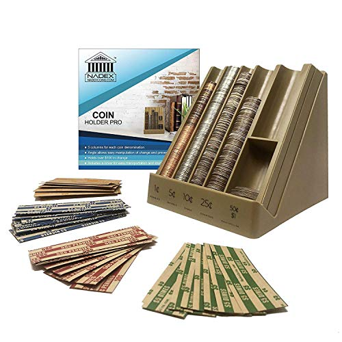 Nadex Vertical Coin Holder Pro - Coin Sorting Organizer Sorts Coins in Columns, Great for Bank Tellers, Making Change and Storing Coins