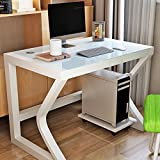 Folding table LVZAIXI Kirschbaum-Möbel-Herman-Hartglas-Tischrechner-Arbeitsplatz mit Tastatur-Behälter, Stahlrahmen und festen Holz-Beinen (Farbe : 01, größe : 80 * 50 * 75cm)