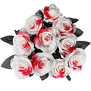 tinsow 10 pcs artificial bloody roses flowers bouquet faux white and red roses bundles fake realistic roses for flowers arrangements halloween parties home decor (white-red, 10) silk flower arrangements