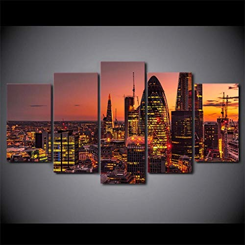 VKEXVDR Bedroom Wall Art London Lights City Building Non-Woven Canvas Picture Prints Image Framed Artwork 100x55cm Living Room Bedroom Home Decor 5 sets