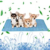 Dog Cooling Mat, Washable Summer Pet Cooling Pad for Dogs Cats, Breathable Ice Silk Cooling Mat Non-Toxic Self Cooling Sleeping Mat for Kennel/Car seat/Indoor/Outdoor, Large