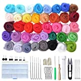Tonsooze lana de fieltro, Set de lana de fieltro agujado, kit 40 Colores Kit Básico de Fieltro de Lana, fieltro húmedo Para Hilar a Mano Proyectos de arte de bricolaje